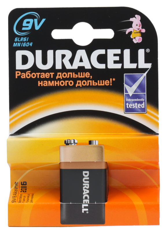 Батарейки DURACELL  6LR61-1BL (10/30/3600)  Блистер  1 шт  (крона)