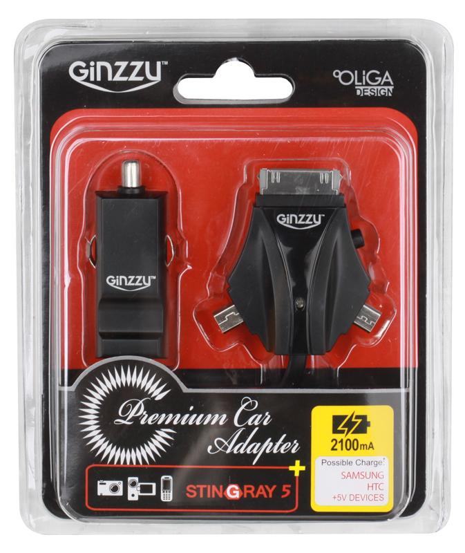 Автомобильное зарядное устройство Ginzzu GA-4310UB/S5, АЗУ 5В/2.1A, 1хUSB +кабель GalaxyTab/mini/microUSB