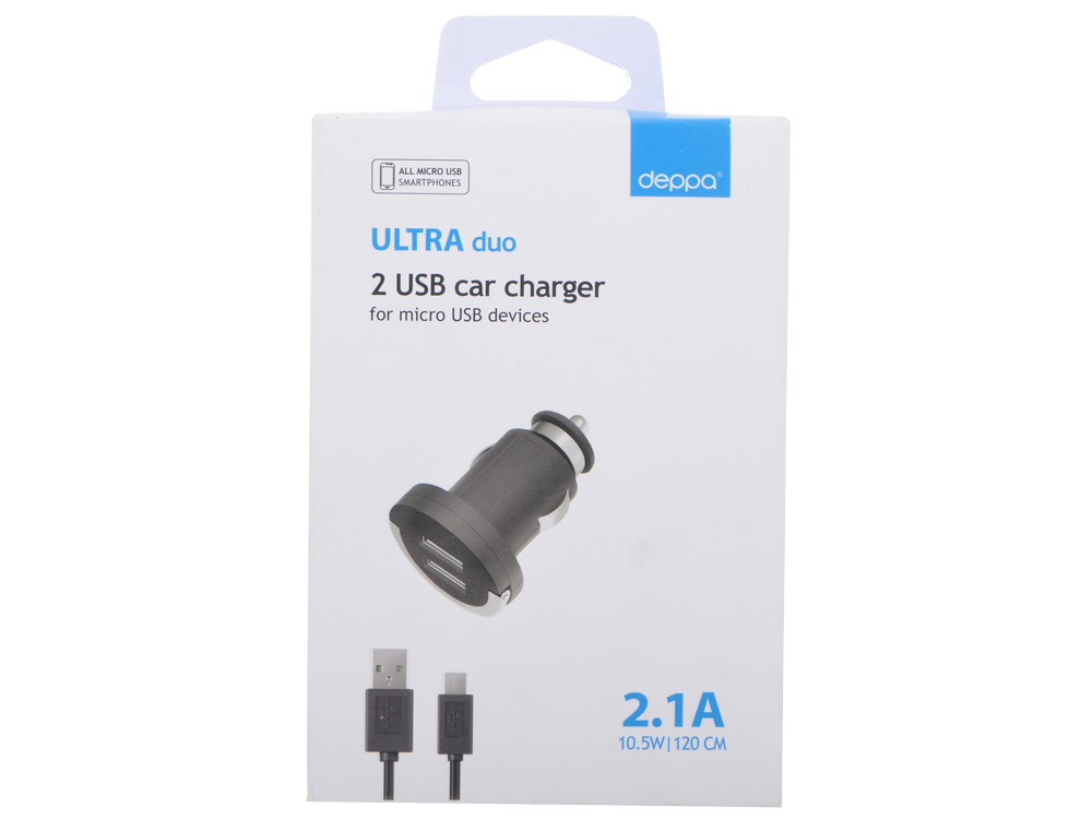 Автомобильное зарядное устройство Deppa 2 USB 2,1А, дата-кабель micro USB, черный (11206) 65 inch touch screen windows i3 floor stand kiosk digital signage advertisement player for photo booth totem