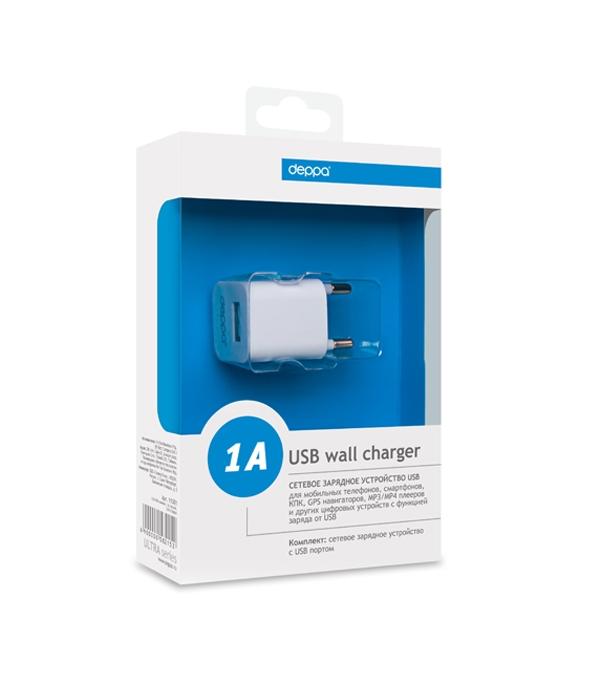Сетевое зарядное устройство Deppa USB компакт, 1А, белый, Ultra (11301)