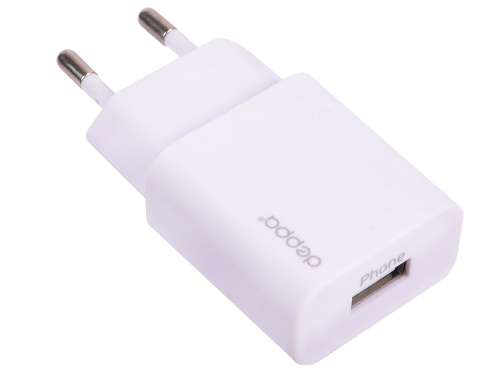 Сетевое зарядное устройство Deppa USB 1А, дата-кабель с разъемом 8-pin для Apple, белый, (11305)