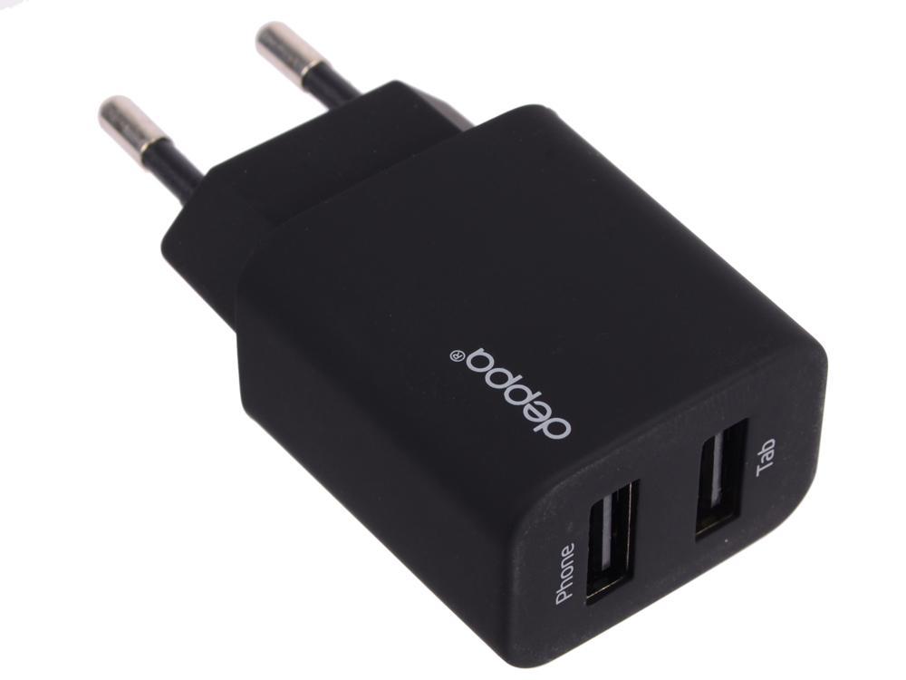 Сетевое зарядное устройство Deppa 2 USB, 2,1 А, дата кабель micro USB, черный, (11303) сетевое зарядное устройство molecula 2 1a 2 usb с кабелем micro usb черный
