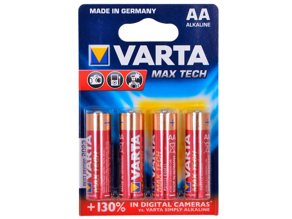 Батарейки VARTA MAX TECH AA (4шт в упаковке) батарейки varta max tech aa 2 шт