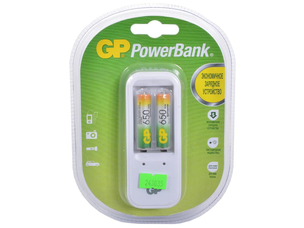 Зарядное устр. GP PowerBank, 13 часов + аккум. 2шт. 650mAh (GP PB410GS65-CR2) зарядное устройство gp powerbank 13 часов аккум 2шт 1300mah gp pb410gs130 cr2