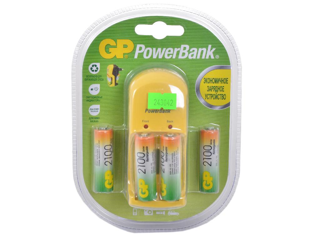 Зарядное устр. GP PowerBank, 13 часа + аккум. 4шт. 2100mAh (GP PB350GS210-CR4)