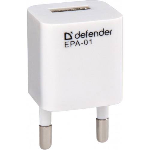 Сетевое зарядное устройство DEFENDER EPA-01 — 1 порт USB, 5V/1A, PB сетевое зарядное устройство defender epc 21 2 х usb 2 1a белый 29701