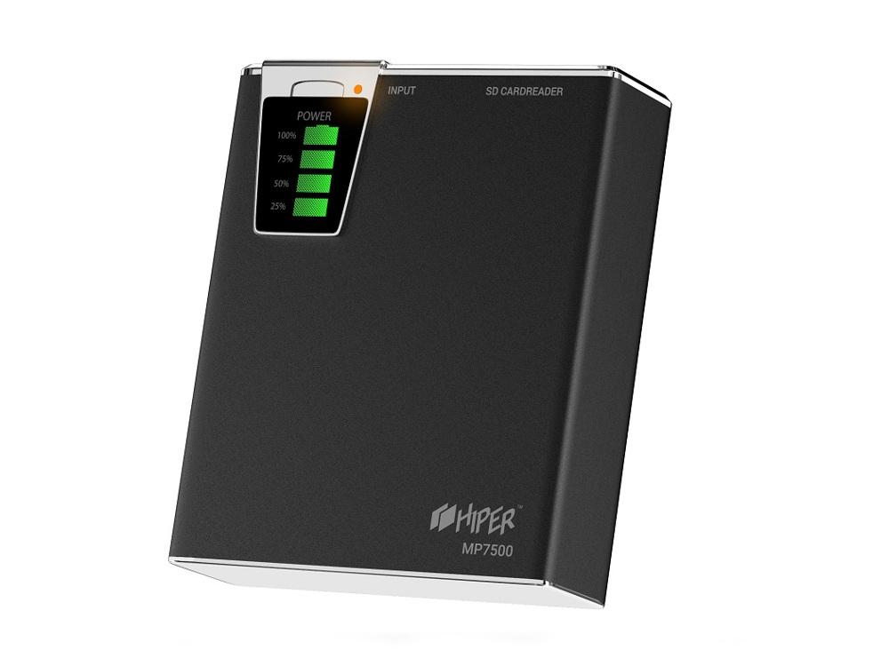 Внешний аккумулятор Hiper MP7500 Black, 7500mAh, 2xUSB 2.1A, Li-Ion, индикатор заряда, комплект переходников внешний аккумулятор hiper zoo mint cake 7500mah li pol