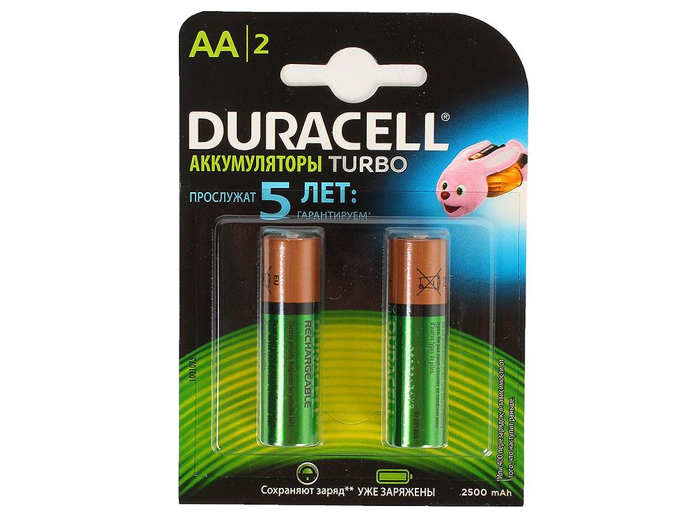Аккумуляторы DURACELL (АА) HR6-2BL 2400mAh/2500mAh предзаряженные 2 шт аккумулятор duracell hr6 2bl aa nimh 2400 мач 2 шт