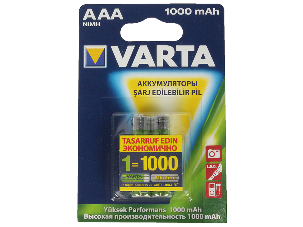 Аккумулятор VARTA AAA 1000 мА-ч (2шт в упаковке)