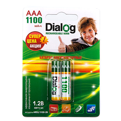 Аккумуляторы Dialog HR03/1100-2B - NiMH ААА 1100mAh 2шт в блистере набор аккумуляторов duracell recharge aaa nimh 750 mah 2 шт