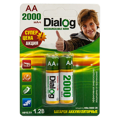 Аккумуляторы Dialog HR6/2000-2B - NiMH АА 2000mAh 2шт в блистере
