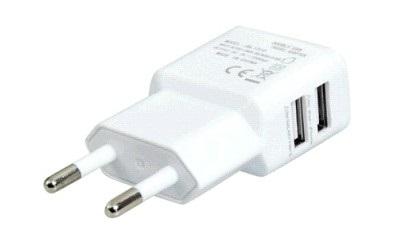 Зарядное устройство/адаптер питания USB от эл.сети Orient PU-2402, два выхода USB, 5В / 2.1A, белый