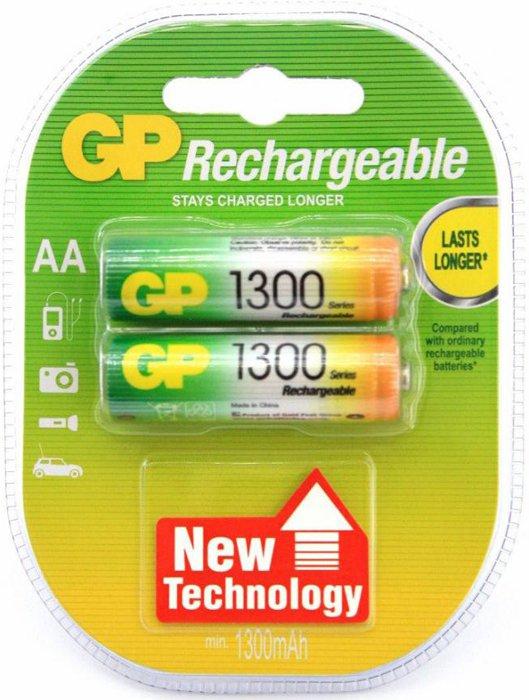 Аккумуляторы GP 2шт, AA, 1300mAh, NiMH (130AAHC-2DECRC2) аккумуляторы gp 2шт aa 2300mah nimh 230aahc