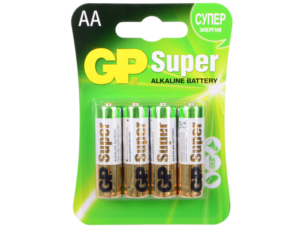 Батарея GP 15A 4шт. Super Alkaline (AA) gp greencell 15g aa