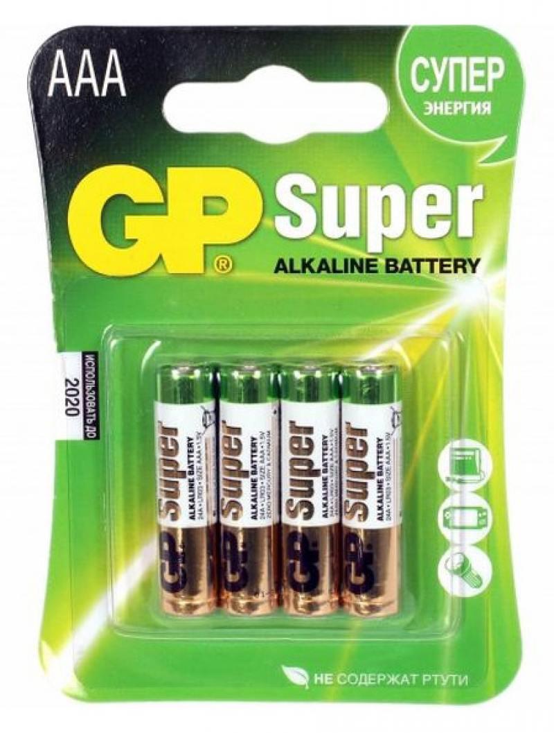 Батарейки GP Super Alkaline AAA 4 шт 24ARS-2SB4