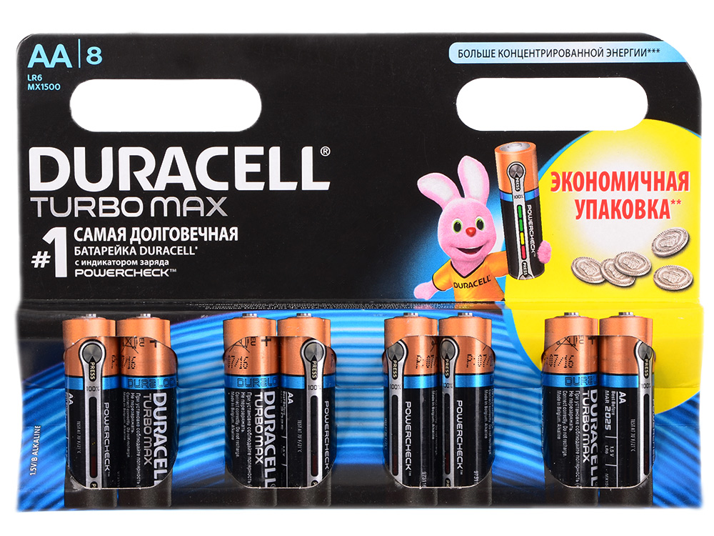 Батарейки Duracell Turbo Мах LR6-8BL AA 8 шт батарейки duracell turbo mn1500 4шт