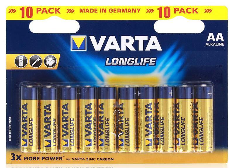 Батарейки Varta Longlife AA 10 шт батарейки varta energy aa 10 шт