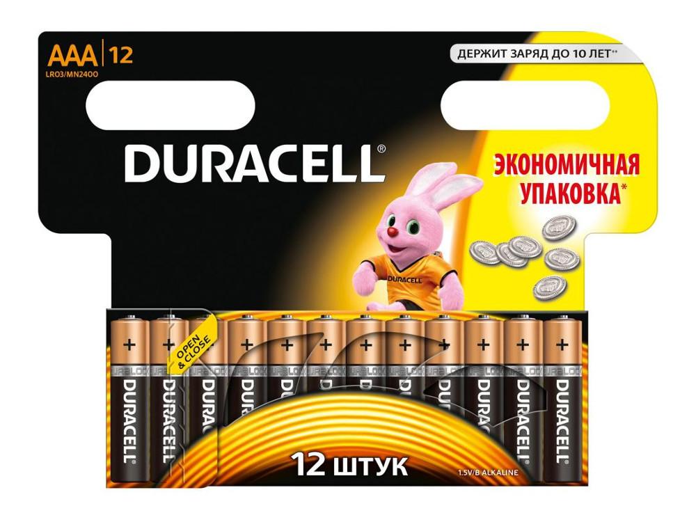Батарейки DURACELL LR03 MN2400 -12BL BASIC (AAA) блистер 12шт. батарея duracell aaa basic 4bl блистер 4 шт