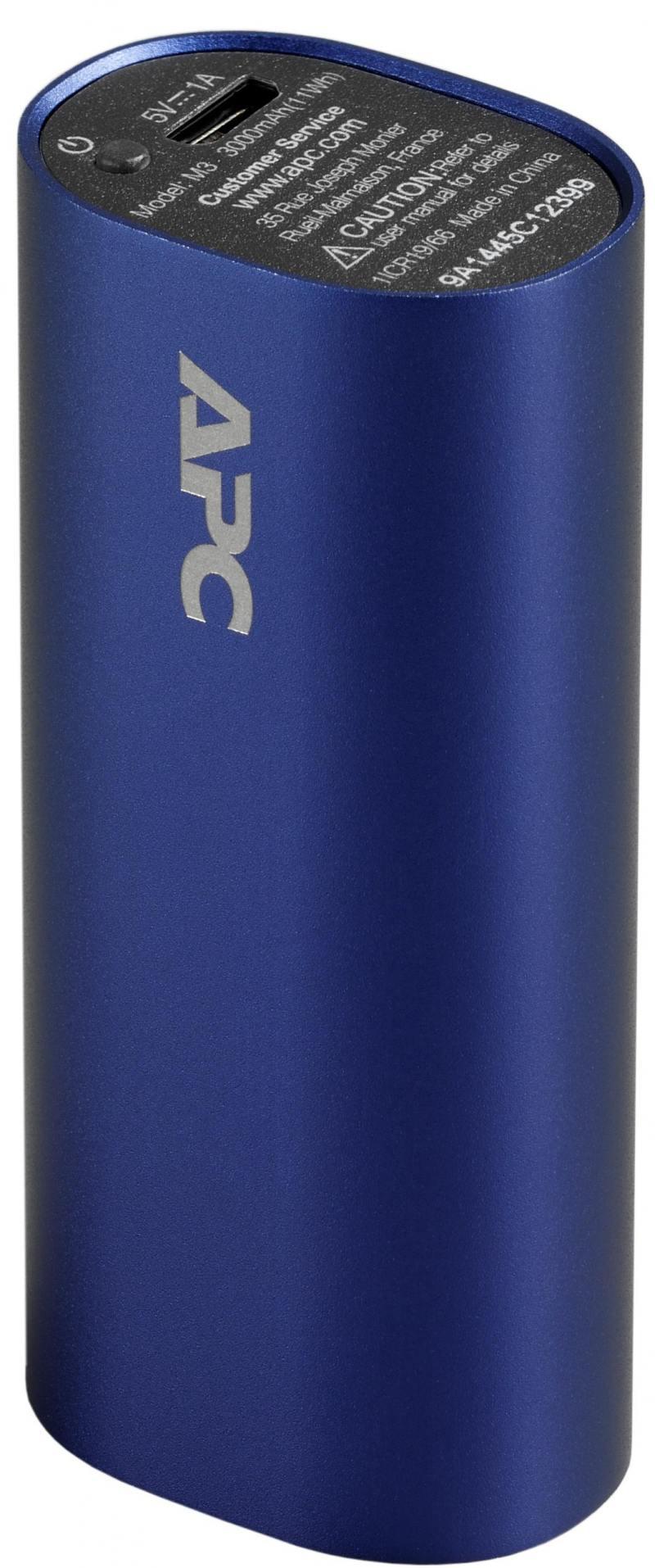 Портативное зарядное устройство APC Mobile Power Pack 3000mAh Li-polymer 1А голубой M3BL-EC
