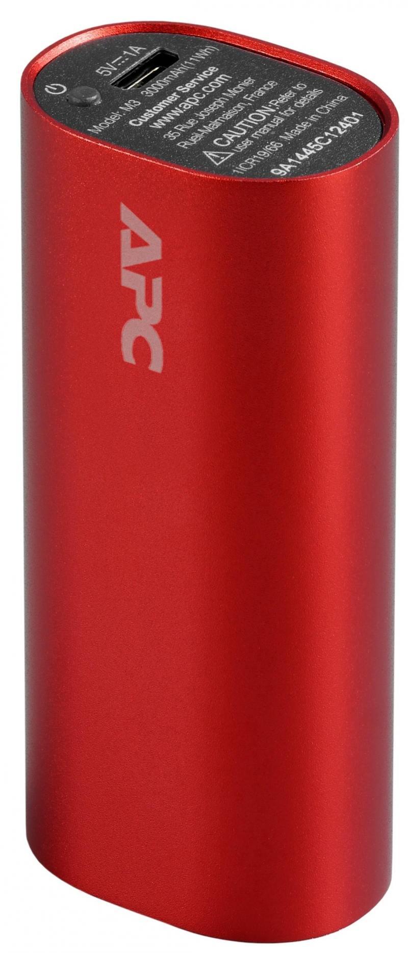 Портативное зарядное устройство APC Mobile Power Pack 3000mAh Li-polymer 1А красный M3RD-EC