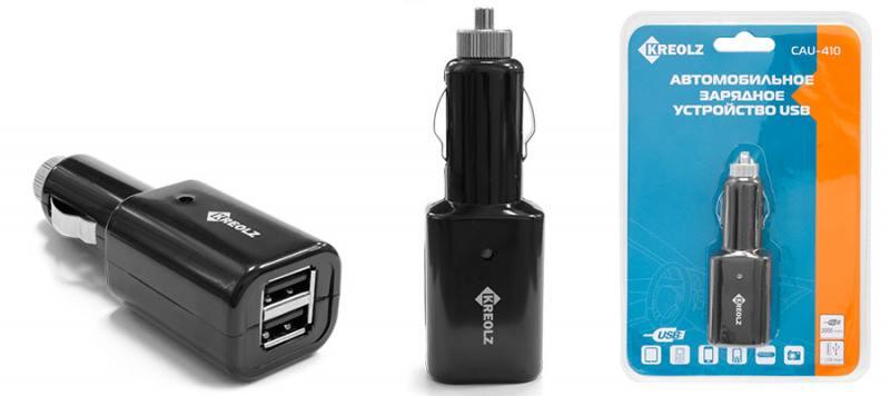 Автомобильное зарядное устройство Kreolz CAU-410 2А 2х USB черный