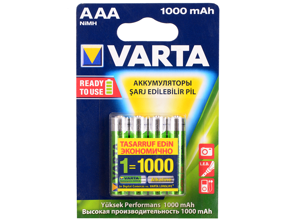Аккумуляторы 1000 мАч Varta R2U AAA 4 шт аккумуляторы varta r2u mr3 4 шт 1000 мач aaa