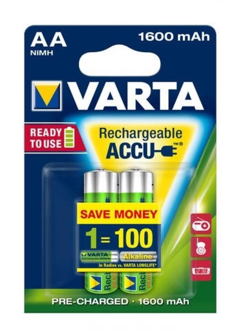 Аккумуляторы 1600 mAh Varta R2U AA 2 шт аккумуляторы varta r2u aa 2400 мач