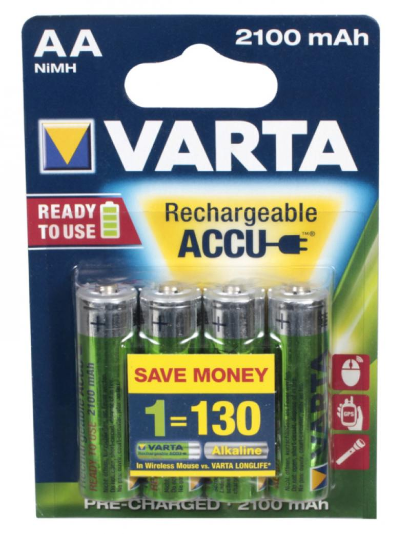 Аккумуляторы 2100 mAh Varta R2U AA 4 шт аккумулятор aa varta r6 1600 mah 2 штуки