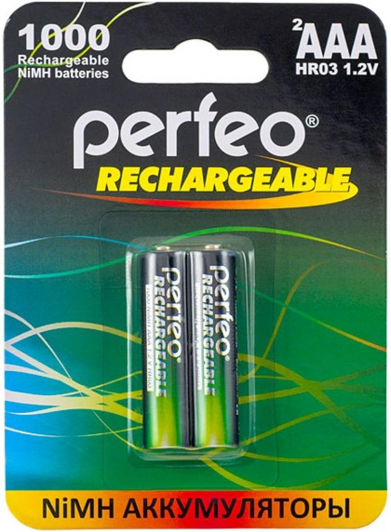 Аккумуляторы 1000 мАч Perfeo AAA1000/2BL AAA 2 шт аккумулятор эра eco energy тип aaa hr03 2bl 1000 мач 2 шт