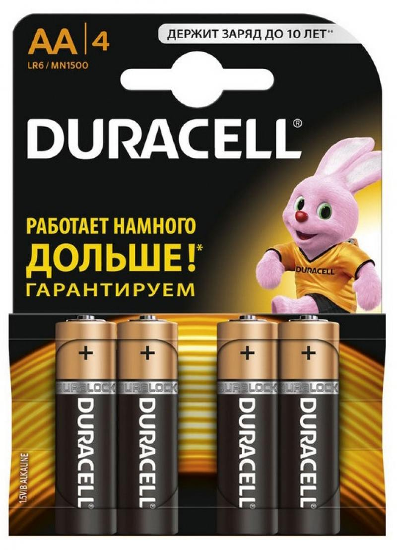 Батарейки Duracell Basic LR6-4BL AA 4 шт батарейки aa lr6 4шт duracell щелочные basic