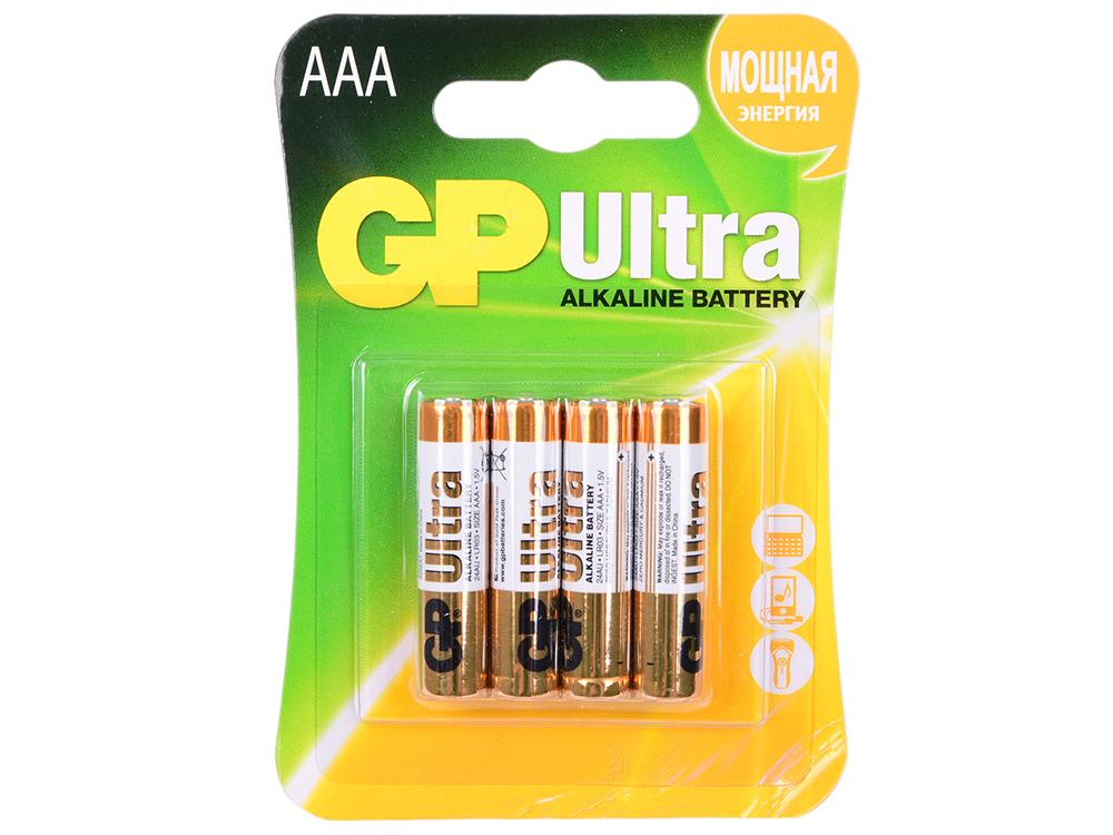Батарейки GP Ultra Alkaline AAA 4 шт 24AU-U4 батарейки alkaline gp 15augl 2cr4 подари жизнь аа 4 шт page 4
