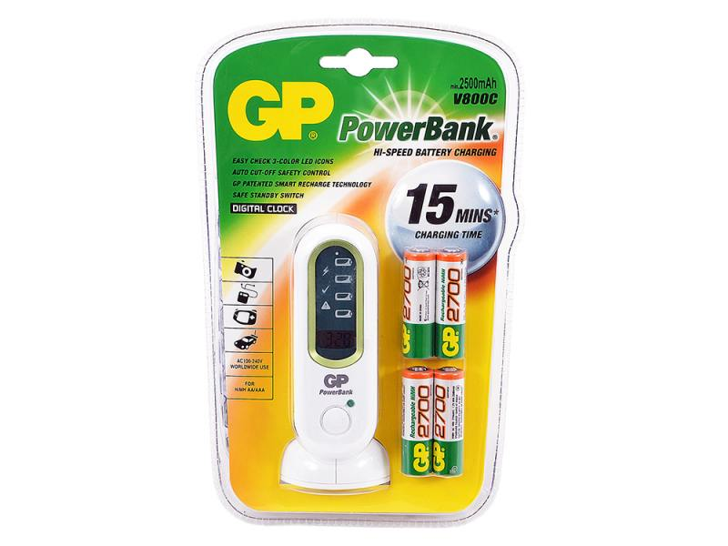 Зарядное устройство + аккумуляторы 2700 mAh GP V800С AA 4 шт зарядное устройство аккумуляторы 2700 mah gp pb560gs270 cr2 aa 2 шт