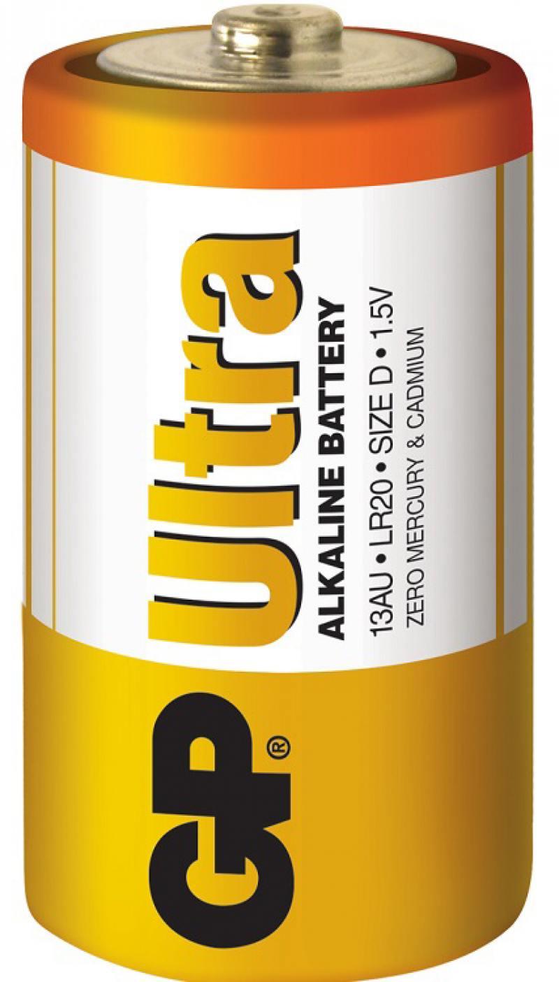 Батарейки GP Ultra Alkaline 13AU LR20 2 шт