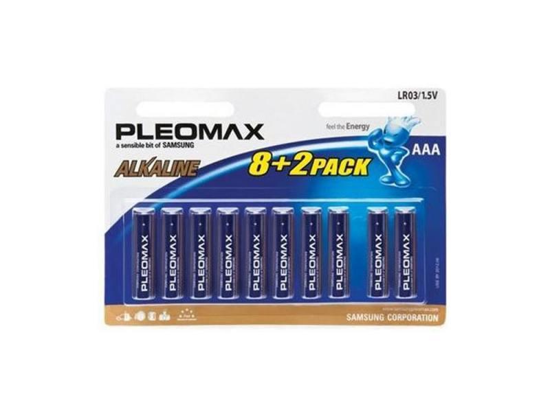 Батарейки Samsung Pleomax AAA 10 шт LR03-8+2BL samsung pleomax 1014 4aa aaax2700mah car adapter