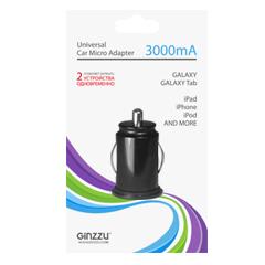 Автомобильное зарядное устройство GINZZU GA-4015UB, 5В/3.0A, 2USB, микро, черный