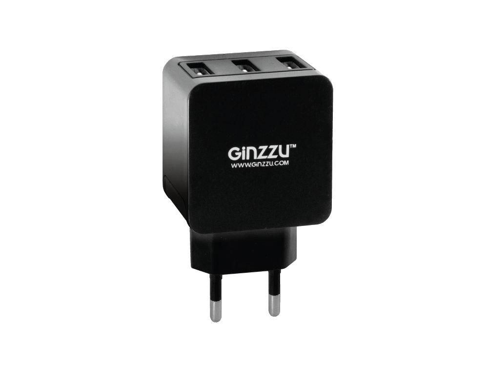 Сетевое зарядное устройство GINZZU GA-3315UB, 5В/3.1A, черный сетевое зарядное устройство ginzzu ga 3315ub 3 x usb 3 1а черный