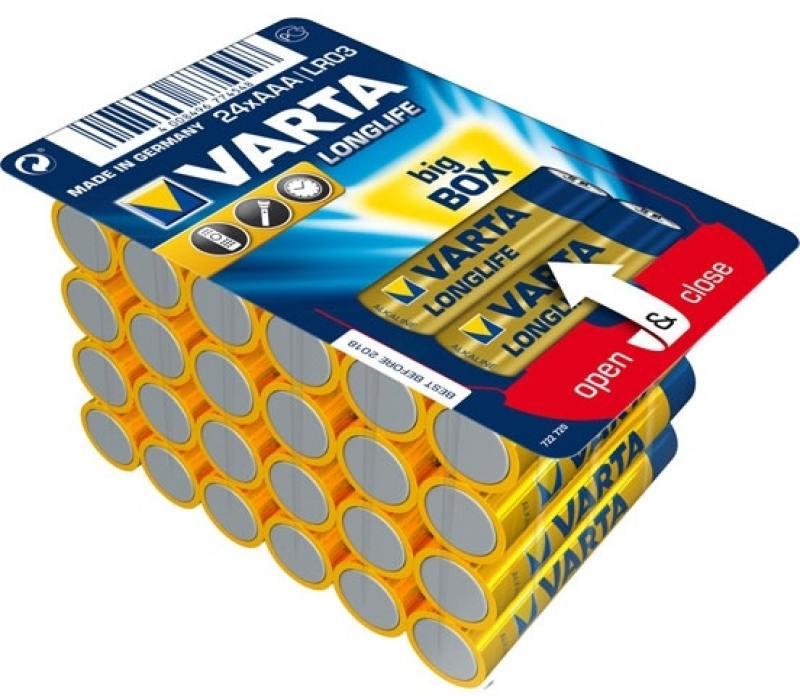 Батарейки Varta Longlife AAA 24 шт батарейки varta longlife тип aa 24 шт
