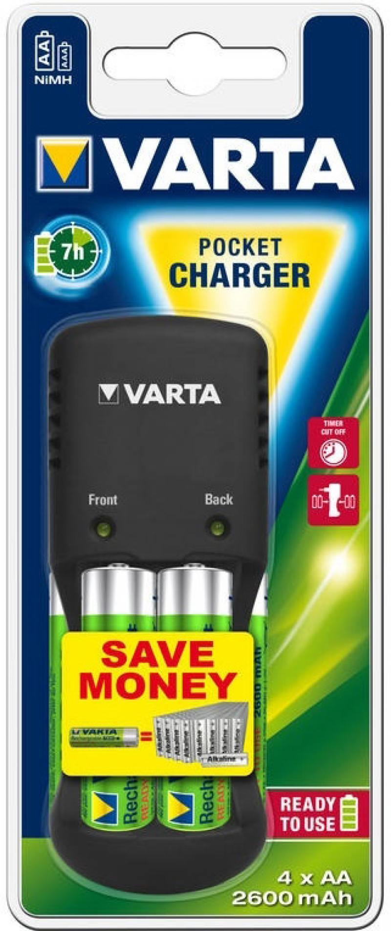 где купить Зарядное устройство + аккумуляторы 2600 mAh Varta Pocket Charger AA/AAA 4 шт дешево