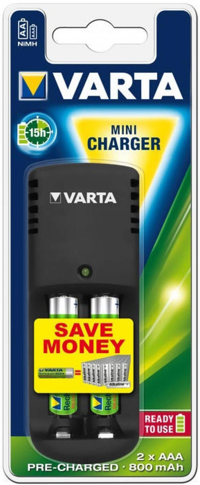 Зарядное устройство + аккумуляторы 800 mAh Varta Mini Charger AA/AAA 2 шт аккумуляторы varta aaa r2u 800 мач блистер 4шт