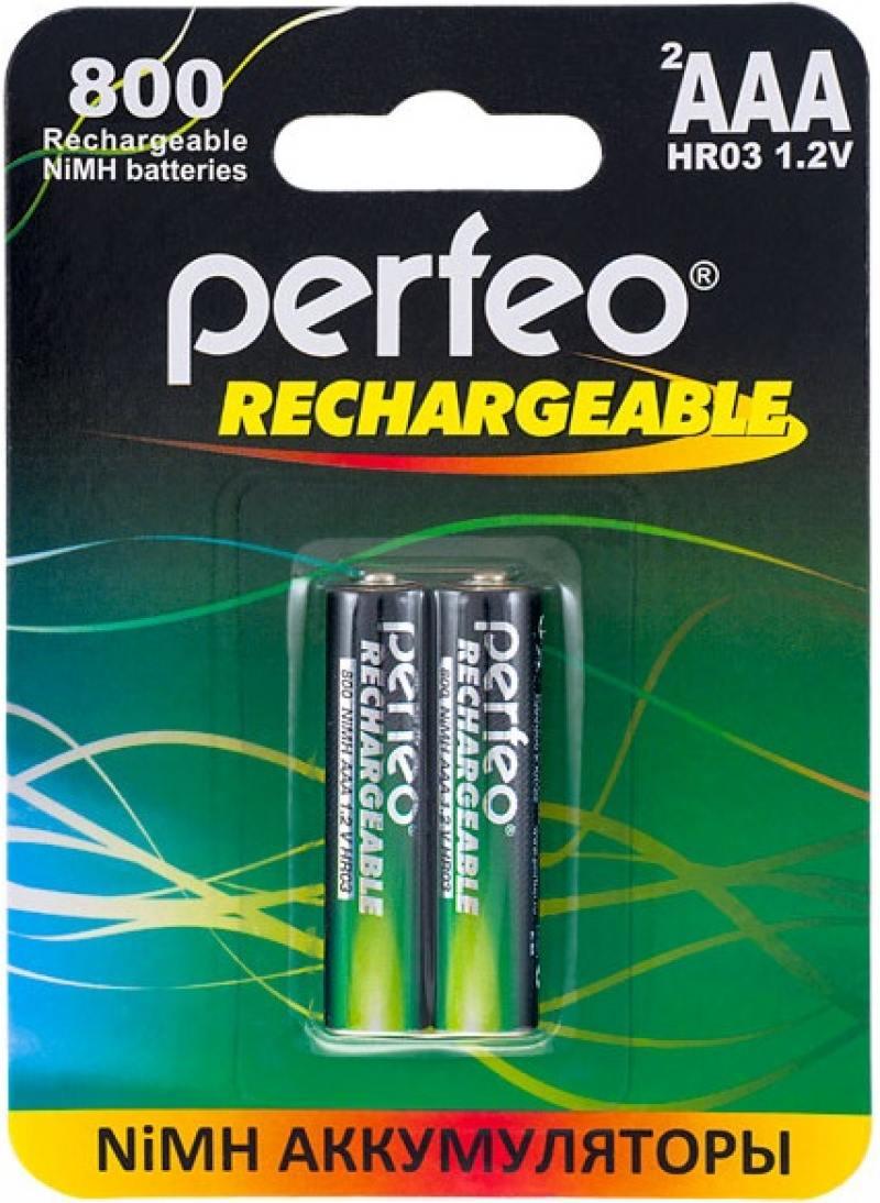 Аккумуляторы 800 mAh Perfeo AAA800/2BL AAA 2 шт аккумуляторы perfeo aa2500 2bl 2500 mah aa 2 шт