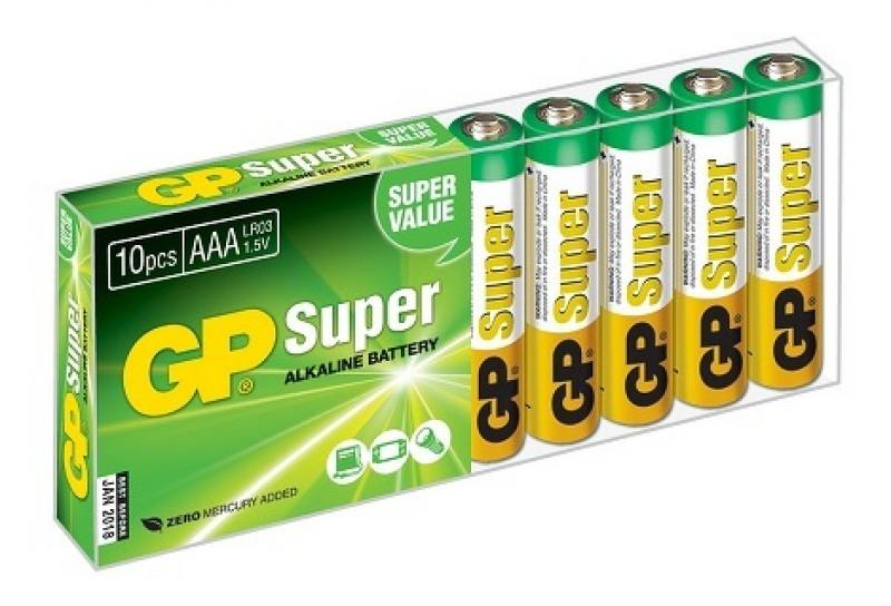 Батарейки GP Super Alkaline AAA 10 шт 24A-B10 ag8 lr55 1 55v alkaline cell button batteries 10 piece pack