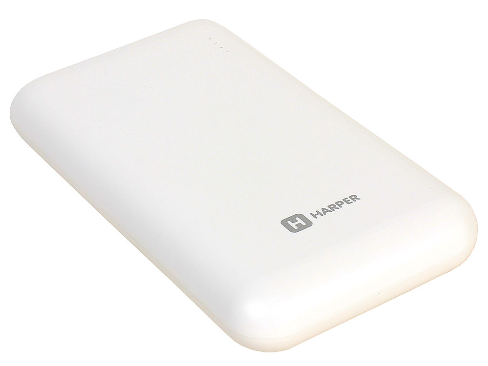 Внешний аккумулятор HARPER PB-10010 white (10000mAh/Li-Pol; Выход 2 USB: 5V/1A и 5V/2,1A; LED индикатор) mini torch usb rechargeable led 2 mode white flashlight yellow