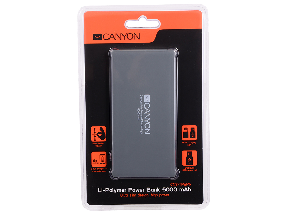 Внешний аккумулятор Canyon CNS-TPBP5DG 5000мАч серый внешний аккумулятор canyon cne cspb26go 2600мач золотистый