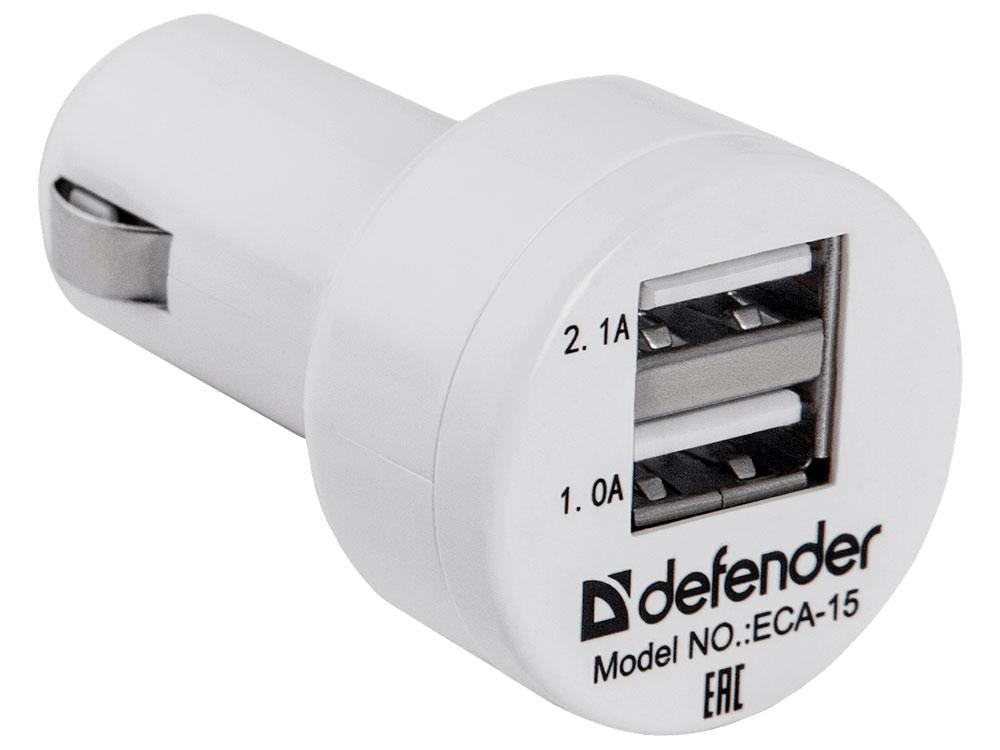 Автомобильный адаптер DEFENDER ECA-15 2 порта USB, 5V/2А, пакет