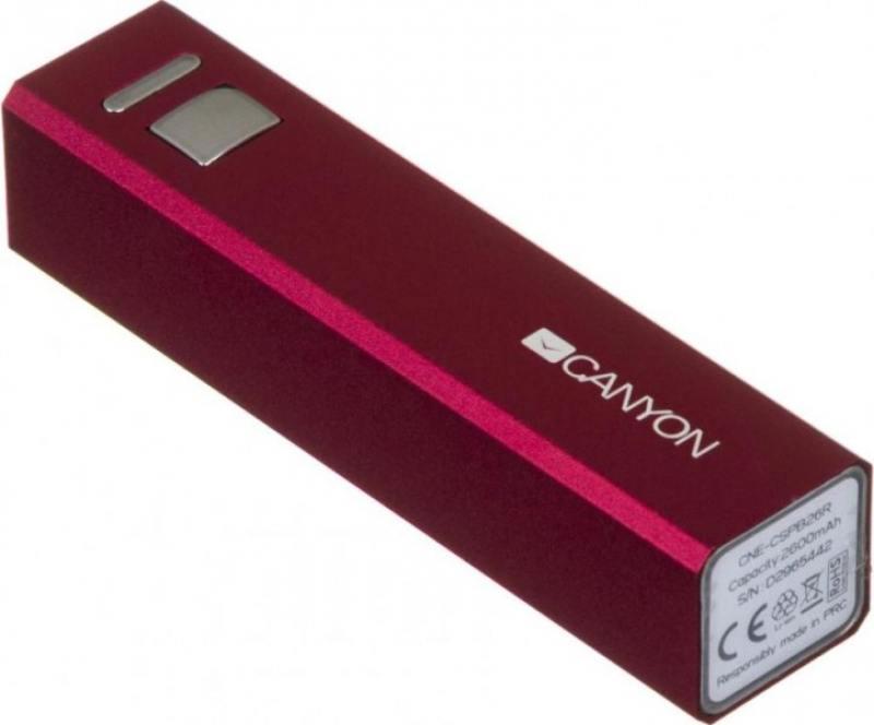 Внешний аккумулятор Canyon CNE-CSPB26R 2600мАч красный внешний аккумулятор canyon cne cspb26b