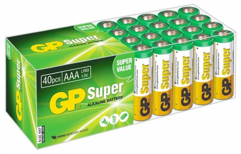 Батарейки GP Super Alkaline 24A LR03 AAA AAA 40 шт GP 24A-B40 20 pcs brand new aaa alkaline battery 1 5 v rechargeable aaa battery for remote control toy baterie light free shipping