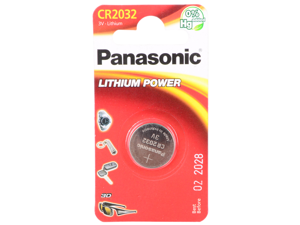 Батарейка 220 mAh Panasonic Lithium Power CR2032 1 шт sound activated 433 92mhz 1 to 1 wireless key finder blue black 1 x cr2032
