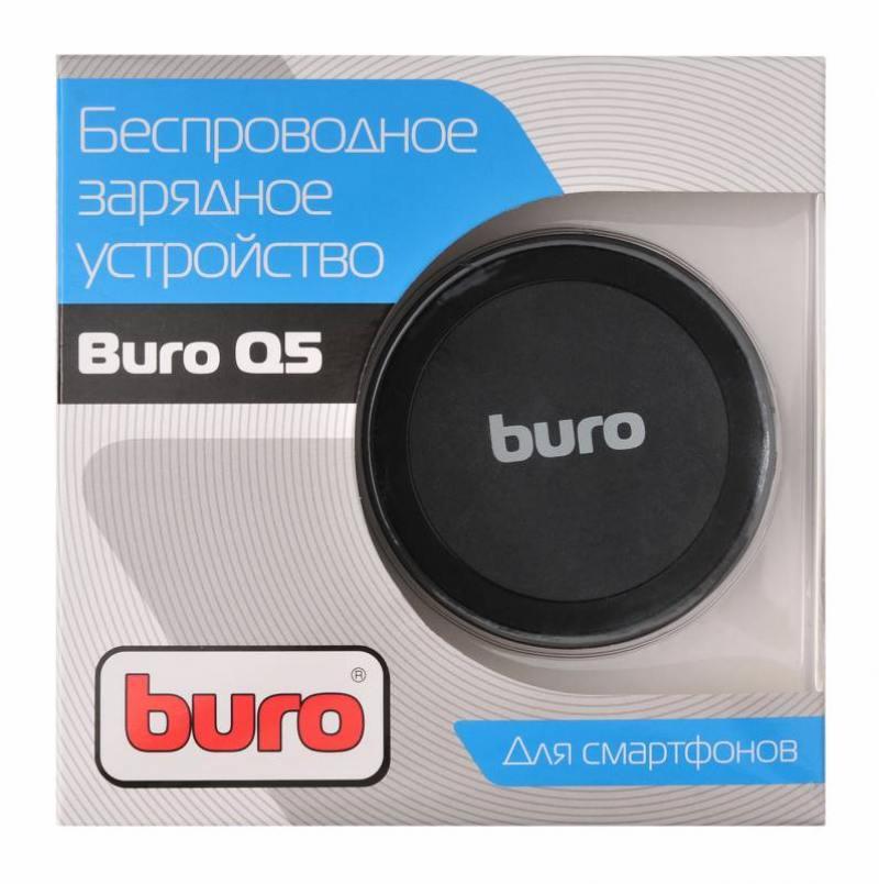 Беспроводное зарядное устройство Buro Q5 1A microUSB черный беспроводное зарядное устройство buro q8 microusb 2х usb 1a черный