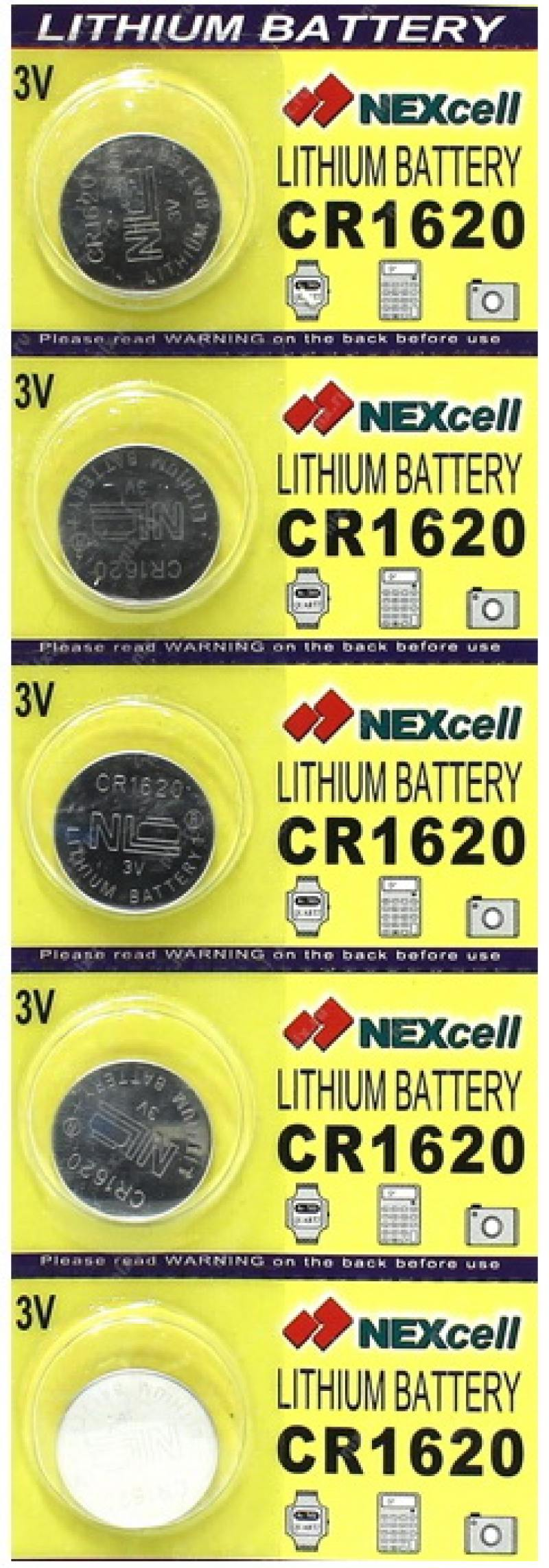 Батарейки 70 mAh NEXcell CR1620 CR1620 5 шт