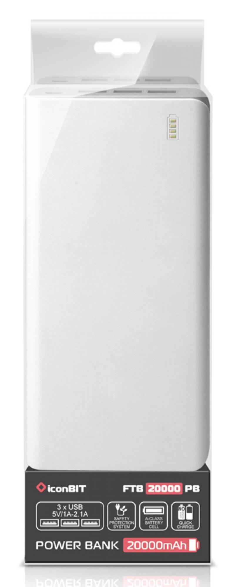 Портативное зарядное устройство IconBIT FTB20000PB 20000mAh белый